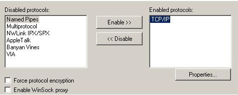 Окно 'Server Network Utility'