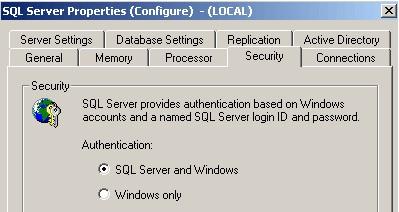 Свойства SQL сервера