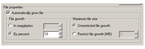 Настройка свойств файла данных - параметры роста файла данных. Закладка 'Data files' свойств базы данных.