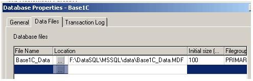 Настройка свойств файла данных - расположение файла. Закладка 'Data files' свойств базы данных.